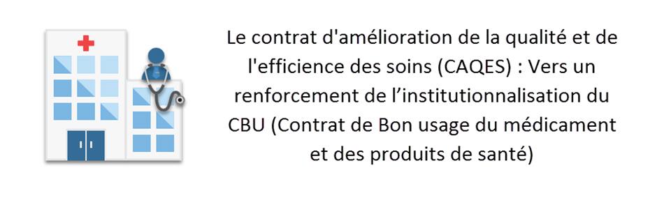 Le contrat d'amélioration de la qualité et de l'efficience des soins (CAQES) : Vers un renforcement de l'institutionnalisation du CBU (Contrat de Bon usage du médicament et des produits de santé)