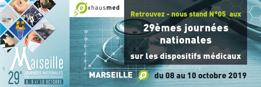 À vos agendas : les 08, 09 et 10 Octobre 2019, Exhausmed sera présent aux 29èmes Journées Nationales sur les Dispositifs Médicaux Euro-Pharmat - Parc Chanot – Marseille